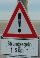 Strandsegeln Achtung