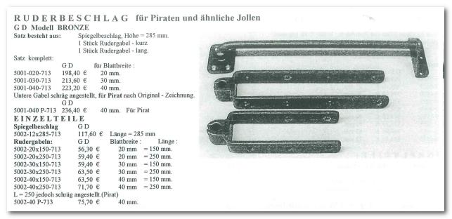 GD Boote Dauelsberg Katalog Seite Ruderbeschlag Pirat