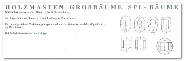 GD Boote Dauelsberg Katalog Seite Holzmast auf Anfrage