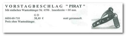 GD Boote Dauelsberg Katalog Seite Mast Vorstagbeschlag Pirat