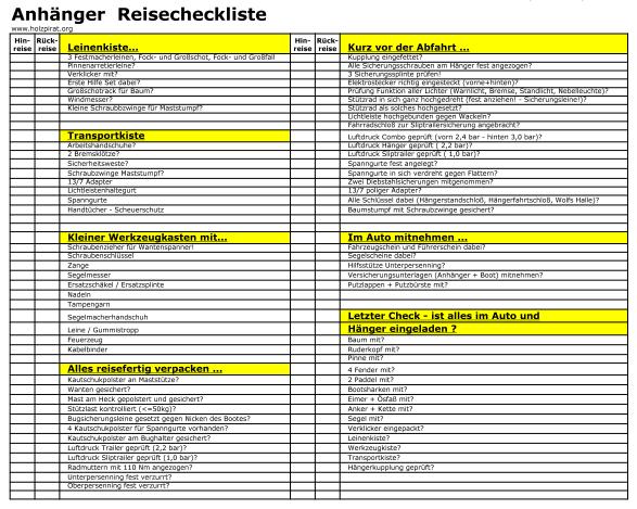 Segelbootanhaenger-Reisecheckliste